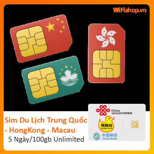 Sim Du Lịch Trung Quốc - Hong Kong - Macau 5 Ngày 100Gb Unlimited