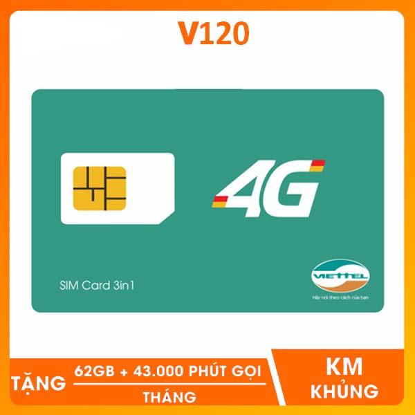 SIM 4G Viettel V120 Tặng 60GB/Tháng Gọi Miễn Phí Cuộc Gọi